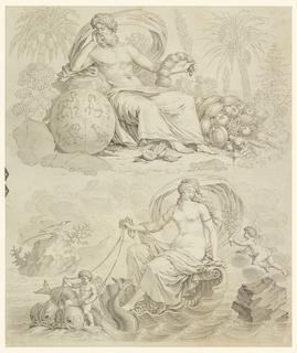 Drawing, Cartoon for Cotton Printing: Les Quatre Elements