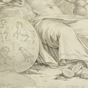 The design is composed of four vignettes, separated in pairs vertically, in the center of the composition by a strip composed of trophies symbolizing the elements, and at the repeat, by a strip showing the signs of the zodiac: B: upper right, Saturn, holding a cornucopia, is seated in a landscape with a globe, quartered with four animals, beside him (personifying Earth); lower right, Venus bourne over the water on a shell drawn by dolphins and attended by amoretti (personifying Water).