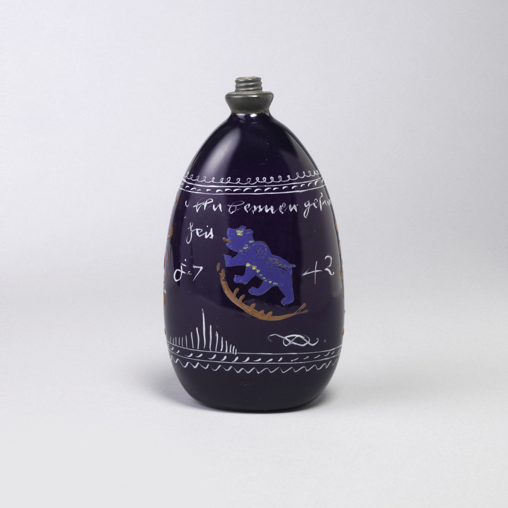 Tear-drop shaped glass in deep purple with painted decoration.