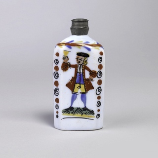 Opaque white bottle with painted decoration.  Drinking man central figure.