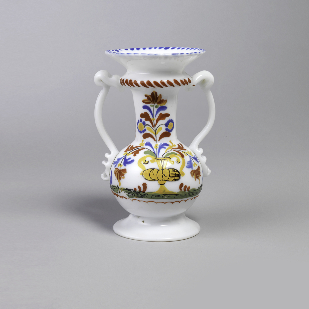 Two-handled vase in white glass with painted decoration.  Vase has a long neck and wide flaring opening.  Body of vase is short and round.