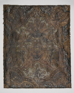 Portion of a slightly larger panel, in varnished silver, blue and green. Cartouche framework with scrollwork, fruit, flowers, trellis work and confronted birds.