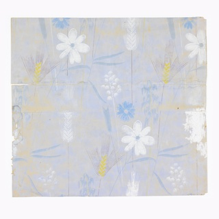 Stylized shafts of wheat and other grasses and flowers, all on very delicate stems. Printed in white, blue, yellow ocher and brown on light blue mottled ground.