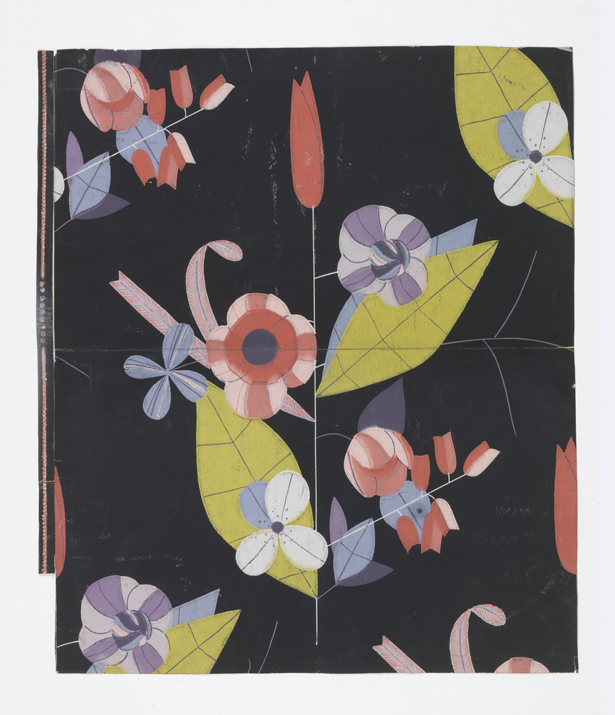 """""""Modernistic"""" floral forms on fragile stems, leaves veined in fine lines. Some blossoms are tulip-shaped. Printed in pinks, lavenders, pastel blues, yellow-green and purple on a black ground."""