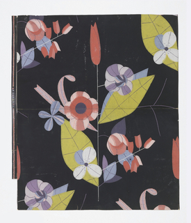 """Modernistic"" floral forms on fragile stems, leaves veined in fine lines. Some blossoms are tulip-shaped. Printed in pinks, lavenders, pastel blues, yellow-green and purple on a black ground."