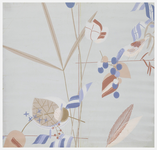 Abstract floral and foliate design with grapes, berries and a bird. Printed in two shades of tan, two shades of blue and three shades of pink on a light blue ground.