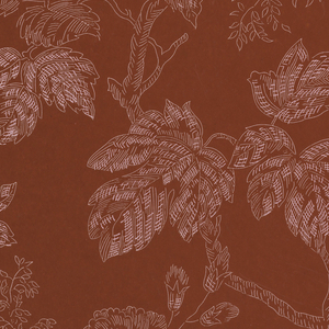 Flowers, branches and blossoms outlined with a hatched effect. The arrangement is random. Drop match. Printed in white on dull red ground.