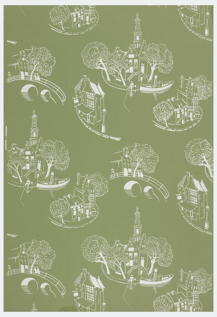 Scenes of Amsterdam sketched in white in a random arrangement. One shows a church steeple in background with canal in foreground and man fishing. Shops, bridges, and houses compose the other scenes. Printed in white on green ground.