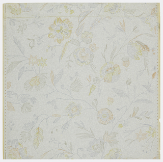 Finely drawn, pale colored, clusters of flowers in random arrangement. Dropmatch. Printed in about four colors on lightly embossed gray ground.