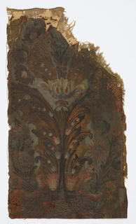 Stylized floral design with tulips and possibly daisies. Painted in colors on gilt emobssed leather ground. Canvas backed.