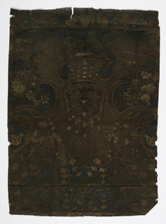 Leather embossed with vase and floral design.