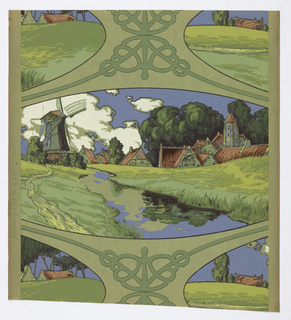 a) On pastel green ground, interlace pattern in gray-green partially outlined in dark green; Ba) companion paper, matching interfaces surrounding Dutch landscape scene with windmill; Bb) continuation of -7-Ba.