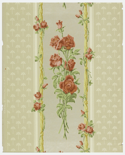 Floral stripe on textured paper. Wide stripe of naturalistic red roses, green foliage, bordered by knotted ropes; this wide stripe is between stripes of geometricized flower pattern in white. All on beige ground.