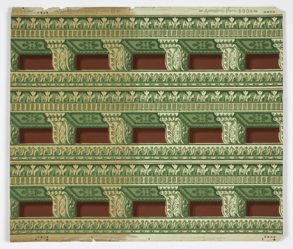 Imitation architectural dentilling and molding in shades of green on maroon with metallic gold highlights.
