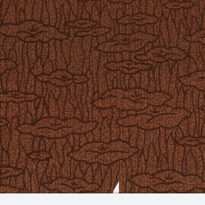 On red paper, network of dots and dashes, and tiny squiggles in shades of maroon. Dominant pattern of maroon outlines of nebulous grass-like and cloud-like forms.