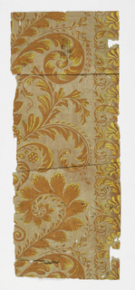 Pattern of foliate scrolls in orange and yellow on now-faded mauve ground, accompanied by newspaper dated 11/01/1828, Sunbury, PA, which had lined top of bandbox from which the patterned paper was removed.