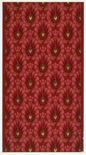 Medallions in diagonal lines with foliate wreaths, torches and beading and outlined by scrolls. Red ground. Printed in reds, pinks, black and metallic gold.