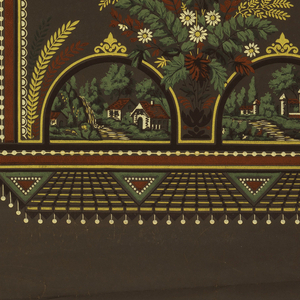 Framework with white beading on the top three sides, large bouquet centered between two dome shapes containing landscapes, with fringe running across bottom. Printed in red, yellow, green and white on deep brown ground.