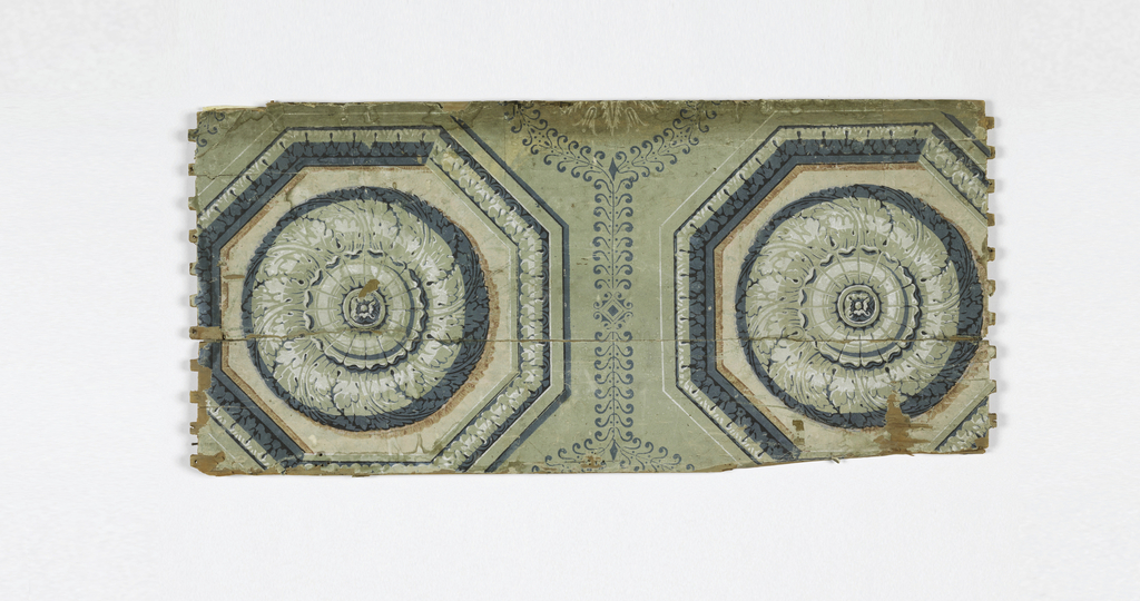 Two rosettes or coffers on inset octagonal panels. Printed in grays, blue-gray, and salmon color on gray ground. Paper mounted on wooden panel.