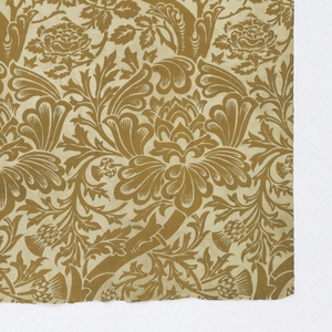 Length of printed cotton with s-shaped central branch with large exotic flowers and small-scale floral fillings. In golden yellow on a white ground.