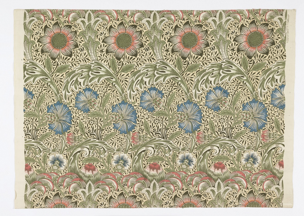 """William Morris textile """"Corncockle"""" has alternating horizontal rows of large, curvilinear flowers and foliage over a background of thin, meandering vines and flowers."""