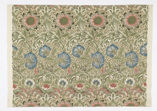 "William Morris textile ""Corncockle"" has alternating horizontal rows of large, curvilinear flowers and foliage over a background of thin, meandering vines and flowers."