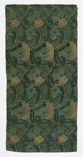 Dark green damask brocaded in gold and pink in a Bizarre-style design of intertwined foliage and flowers.