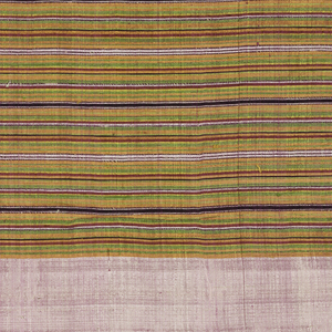 Four pieces sewn together: border of pink silk; narrow multicolored bands in orange, green, red, and purple. Center panel with side border of red and green striped silk. Panel design of geometrical zigzag tapestry in red, pink, green, yellow, orange, brown, and white. Top border of plain brown cotton.