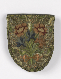 Small purse attached to silver frame, lined with green taffeta.  Embroidered with knotted stitches, satin stitch and long and short stitch in silk and gilt threads.  On one side, a design of five pink and blue flowers tied with a pink ribbon; on the reverse, a cypher and crown.