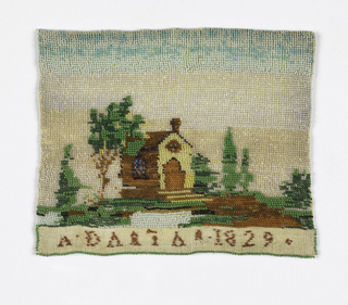 Panel of linen with colored beads sewn to form a picture of a landscape with a chapel and letters (indecipherable and a date 1829.