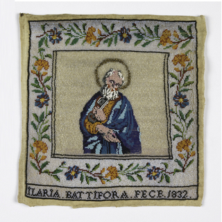 "Panel of linen where colored beads have been sewn to form with St. Peter, floral border, and words ""Maria Battifora fece 1832"""