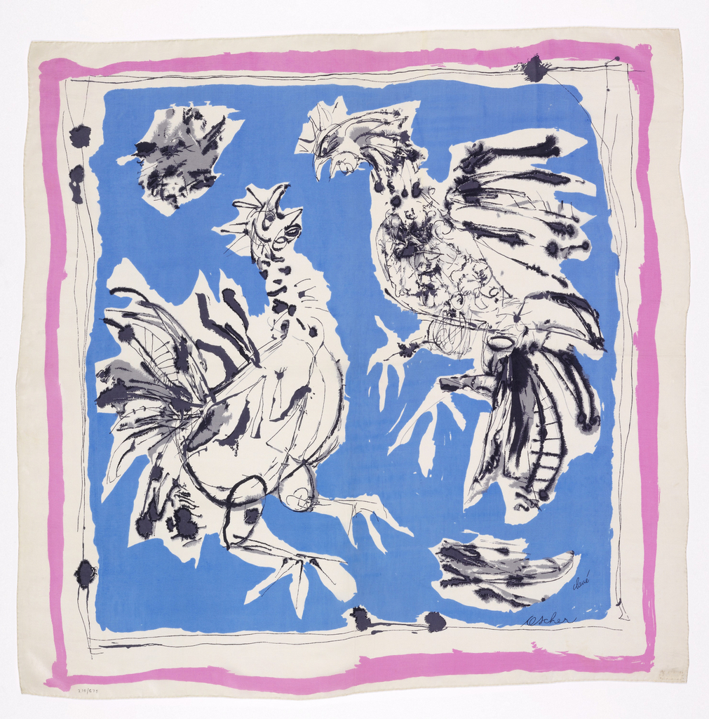 Printed square scarf with center blue ground with white roosters detailed in black linework. White border with loose linework around center square with pink line to frame and another white square as outer border.