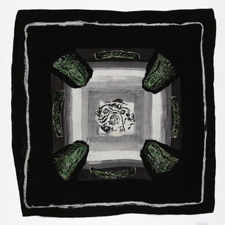 Black squre scarf with grey and white concentric squares in the center.  Corners of the center square are rounded with black areas containing medival heads in green and the center of each side of the outer square contains a green design.  The center of the scarf shows an abstract (floral?) print and a thin white border provides a frame for the center.