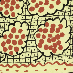 Square yellow silk scarf with abstracted clusters of grapes outlined in black and filled with red dots. Background of black lines forming a graph with a dot in the center of each square. A solid red border is flanked by guard borders of thin red and black wavy lines and dots.