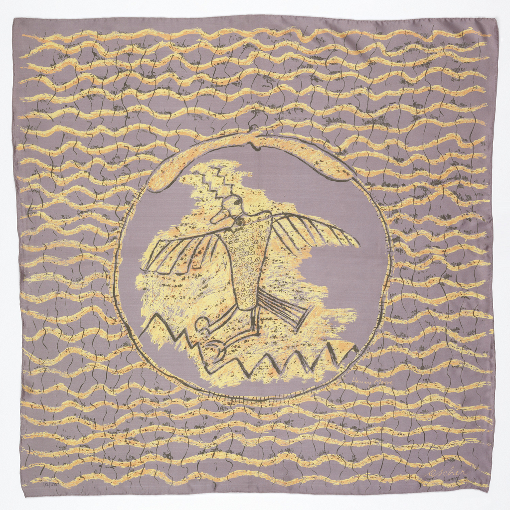 Lavender square scarf with circle containing a bird outlined in black at the center.  Yellow is used for the bird at the center and on horizontal wavy lines around the center circle.