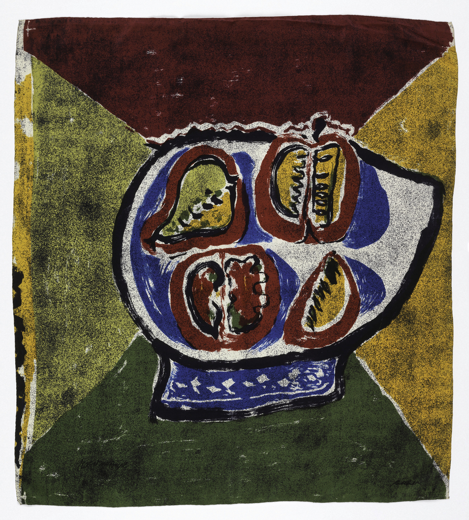 Square scarf with abstracted fruit still life at the center in red, green, and mustard yellow. background consists of four triangles using diagonals of the scarf in red, army green, yellow, and mustard.