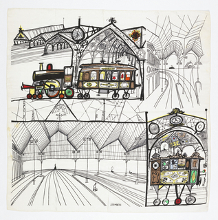Divided into four sections with black and white scene of train station. Top left has a train/trolley in color and the bottom right corner show colored motifs.  Thin linework used to create perspective with bold outlines for emphasis of architecture.