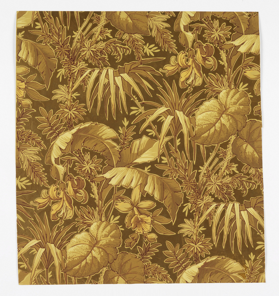 Aesthetic dense all-over pattern of exotic foliage including a palm tree with tropical flowers and multiple varieties of leaves; single-motif long repeat in off-set columns; naturalistic block shading and strong dark and light outlining; color schemes of browns, yellows, and creams; metallic gold ground.