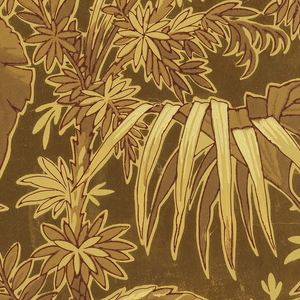Aesthetic or Anglo-Japanesque-style paper. Very dense pattern of exotic plant life which  includes palm fronds and rubber trees. Printed in shades of yellow ocher, brown, and metalic gold on light ocher.
