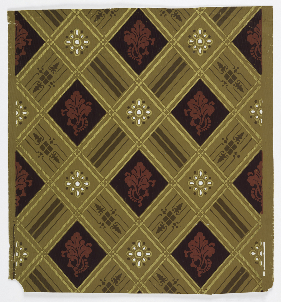 On patterned tan ground, diagonal metallic gold trellis frames alternating stylized red cabbage leaf on black ground and metallic gold and shiny white stylized flower.