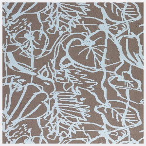 An over-scaled foliate pattern in very simplified form.  Printed in light blue on a mottled brown ground.