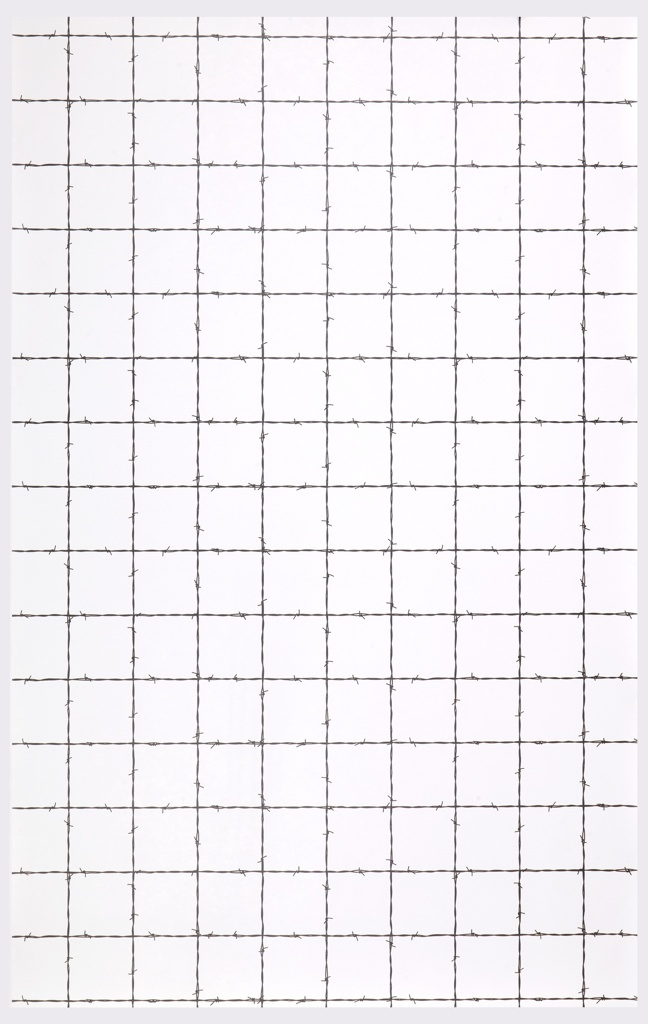 Window pane plaid design created by strands of black barbed wire crossing at right angles on a white ground.