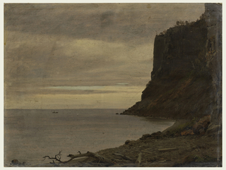 Dark cliffs at right; small cove with rock and branch-strewn beach in foreground. Gray skies over still water at left. Small boat with a standing figure with what appears to be a dog, at center close to horizon line.