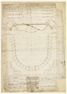 Vertical rectangle. Overhead view of a plan of an auditorium. Sections labeled alphabetically and described on bottom in Italian in brown ink.