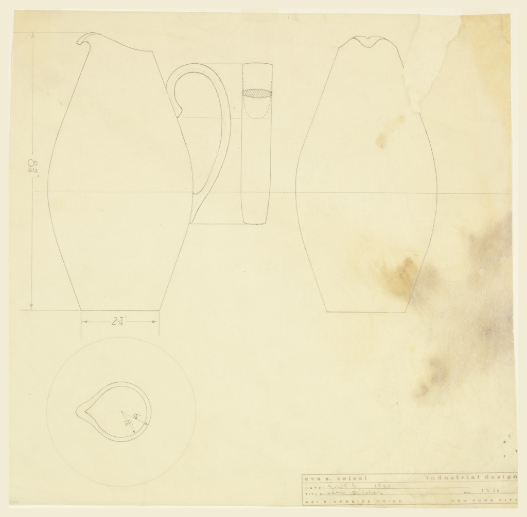 Elevation, front and top view of a water pitcher.