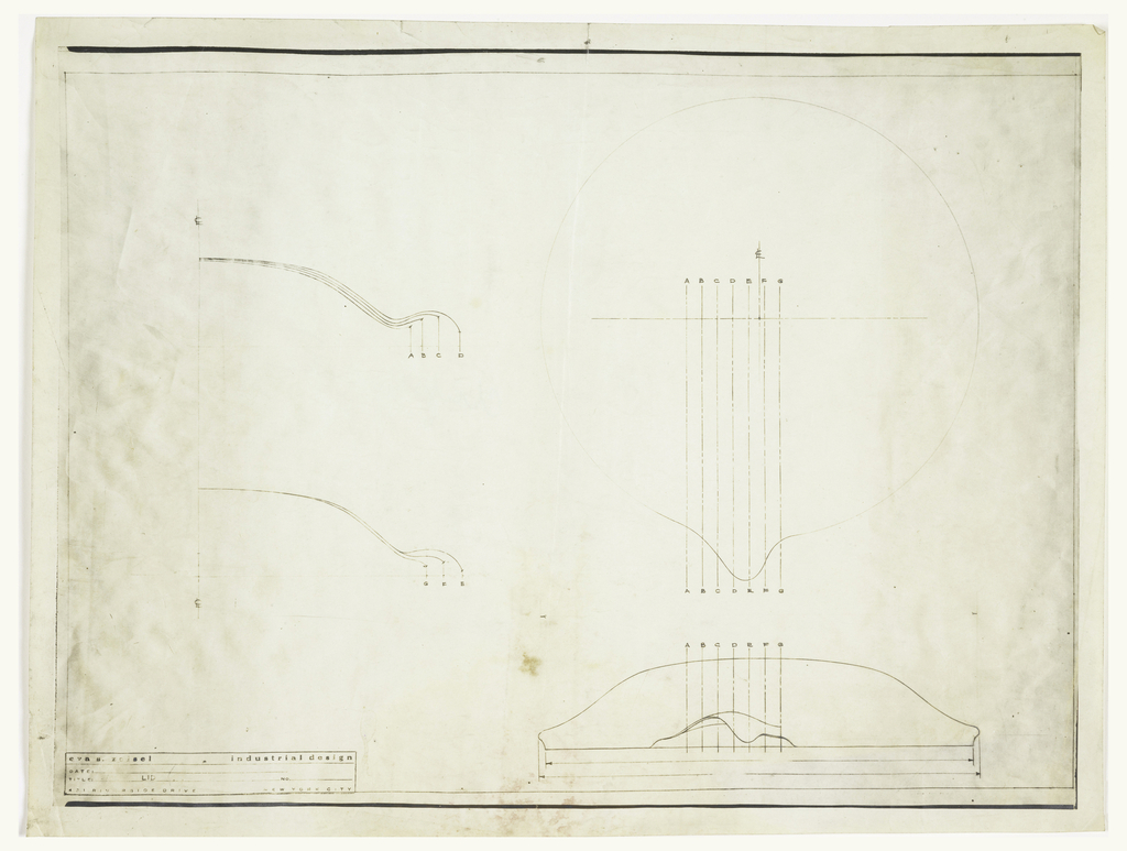 Design for a lid; top, front and side view with alphabet notations.