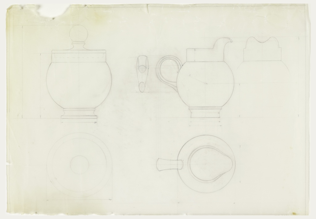 Design for cream pitcher and sugar bowl; elevation, top and side views.