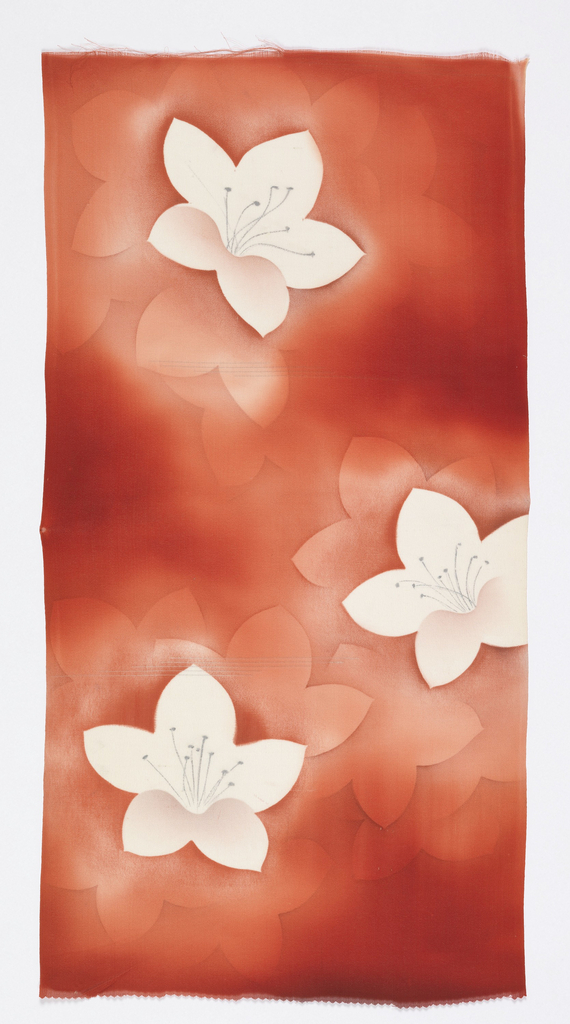 Shaded dark red ground with a few extra wefts of silver. Print of large-scale lilies with silver stamens in white and lighter shades of red.
