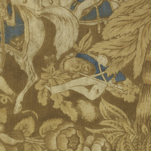 Fragment of printed cotton showing a scene of General Zachary Taylor on horseback at the Battle of Resaca de la Palma, with a soldier firing a canon, mounted cavalry with the American flag, teepees in the distance, and a river prominantly featured at the top of the design. Surrounded by palm trees and exotic foliage. Printed in blue and brown on an ivory ground.