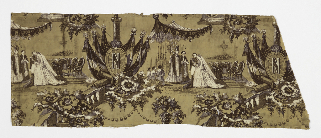 "Printed fragment showing the marriage of Napoleon III to Eugenie. Vignettes are separated by the Column of Vendome with massed standards and a large ""N"" on a shield and by balustrades with foliage. Design in purple on a buff-colored ground with some areas of the design reserved in white."